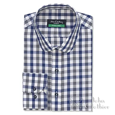 e26ab5ce3a6d7 WhitePilotShirts Round Collar Mens Peaky Blinders Shirt Blue and ...