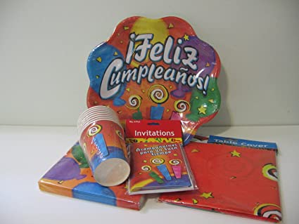 Amazon.com: Feliz Cumpleaños Party Pack (Serves 16): Kitchen ...