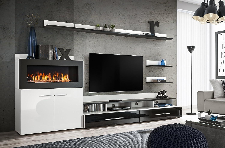 Moderner Wohnwand Livers mit Bio Kamin Anbauwand Schrankwand Schwarz+Weiß 9