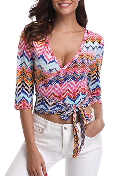 add48839a88 MISS MOLY Women's Leopard Print Deep V-Neck Half Sleeves Wrap T-Shirt Tops