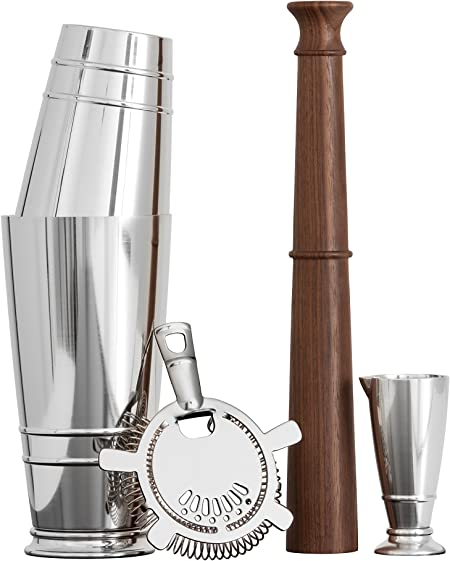 Crafthouse by Fortessa Professional Barware Bar Tools by Charles Joly, Boston Shaker Gift Set, Silver