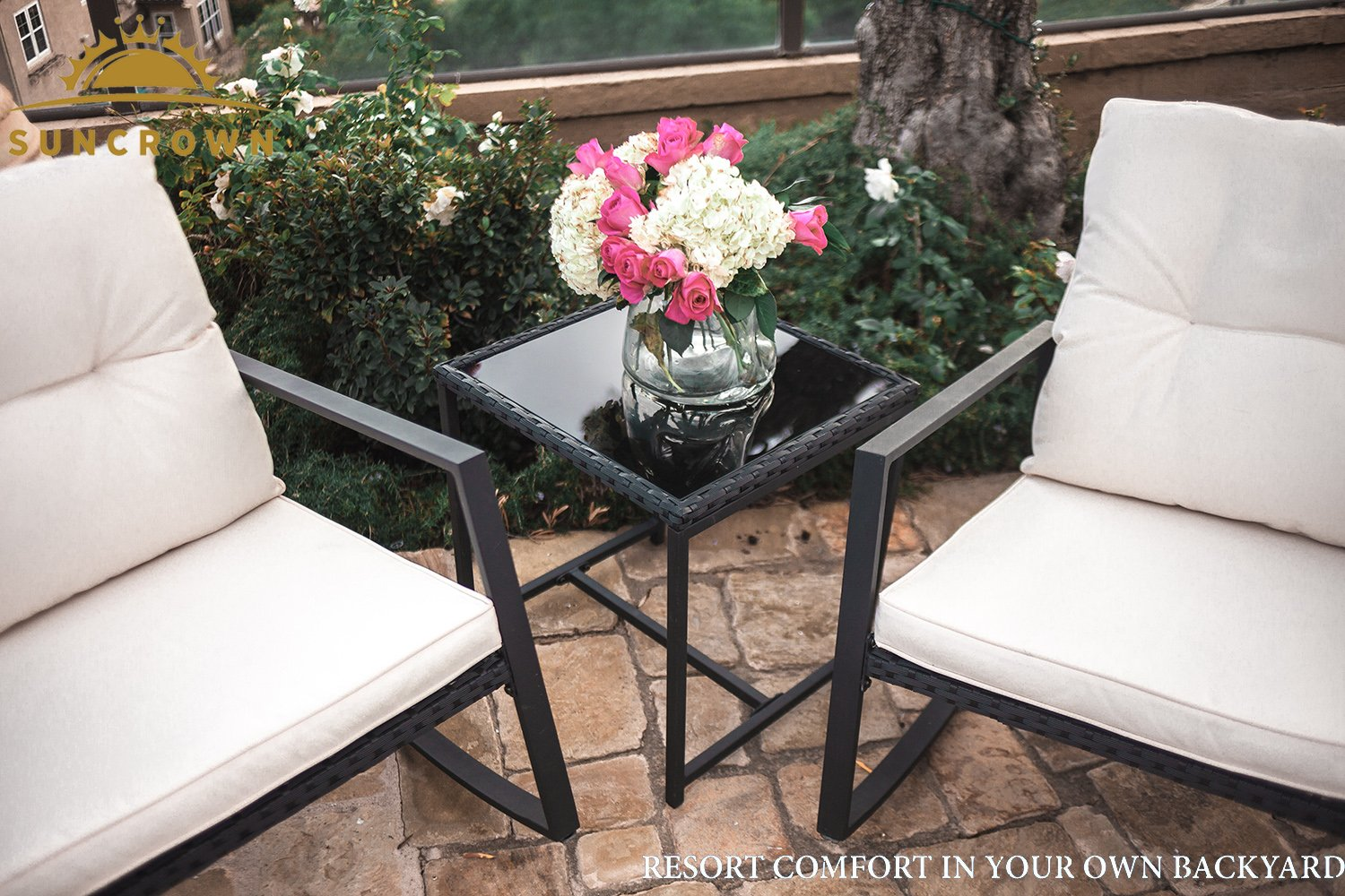 Suncrown Outdoor 3-Piece Rocking Wicker Bistro Set: Black Wicker Furniture - Two Chairs with Glass Coffee Table (White Cushion) by Suncrown (Image #2)