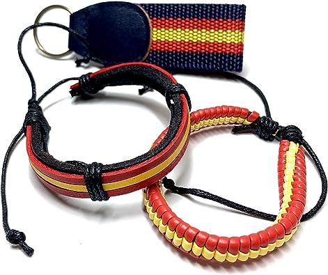 Buroxo Pack 2 Pulseras Bandera España diseño Elegante + Regalo Llavero España - Pulseras para Hombre y Mujer - Tamaño Ajustable Mediante Nudo corredizo - Fácil de Poner o Quitar - Colores España: Amazon.es: Joyería