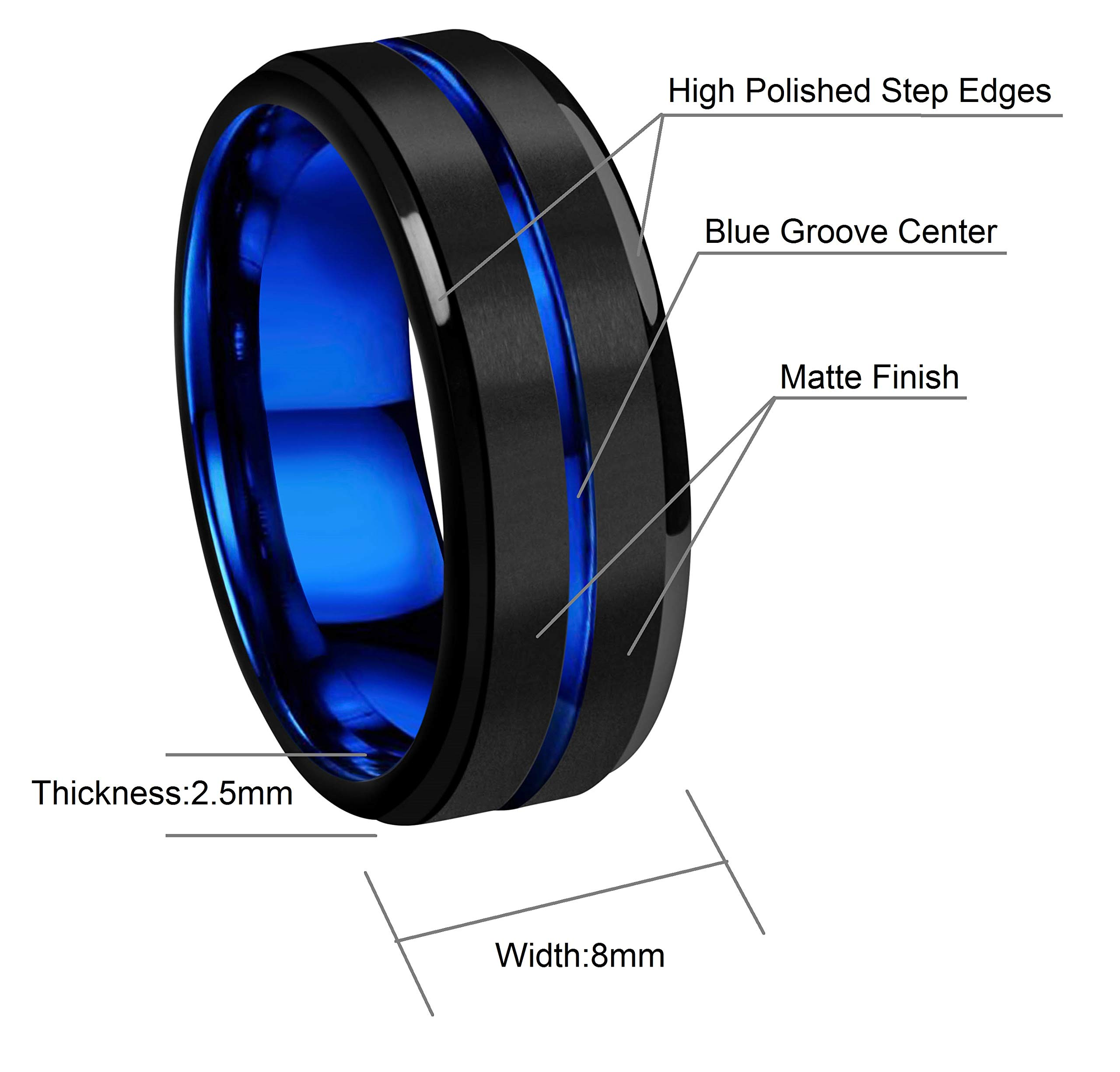 CROWNAL 8mm Blue Groove Black Matte Finish Tungsten Carbide Wedding Band Ring Step Down Engraved I Love You Size 5 to 17 (8mm,10) by CROWNAL (Image #3)