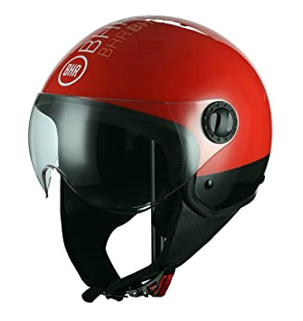 BHR Casco Moto Demi-Jet Linea One 801, Style Rojo, M (57