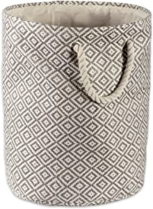 DII Geo Diamond Woven Paper Laundry Hamper or Storage Bin, Large Round, Gray