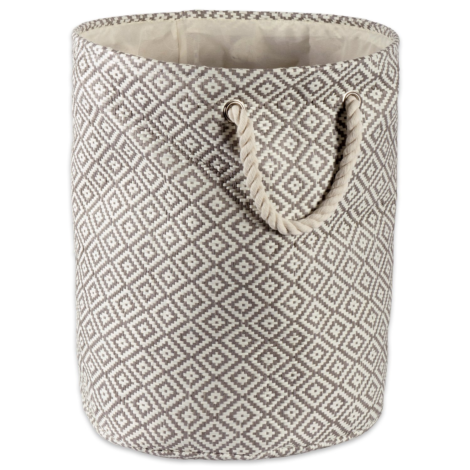 DII Woven Paper Basket or Bin, Collapsible & Convenient Organization & Storage Solution for Your Home (Large Round - 15x20) - Gray Geo Diamond