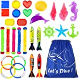 Underwater Swimming Diving Pool Toy Rings 4 pcs, Diving Sticks 5 pcs and Torpedo Bandits 4 pcs Sets Under Water Games…