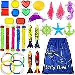 Underwater Swimming Diving Pool Toy Rings 4 pcs, Diving Sticks 5