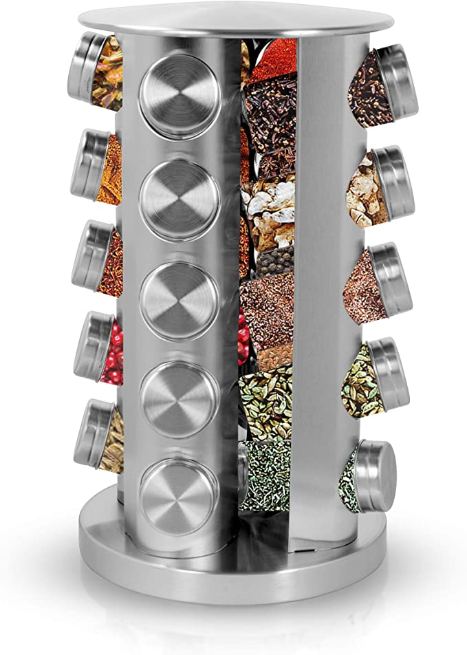 Amazon.com: Simpli-Magic Revolving 20-Jar Countertop Spice Rack, Stainless Steel: Kitchen & Dining