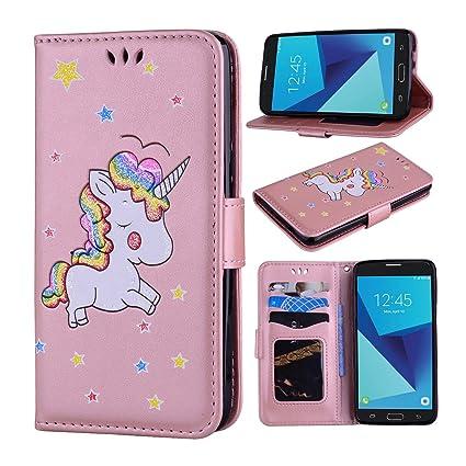 Galaxy J3 Prime Case, Galaxy J3 Emerge Case, Galaxy J3 2017 Case, Ranyi  [Bling Unicorn Wallet] [Cute Unicorn Pattern] [ID&Card Holder] Luxury PU