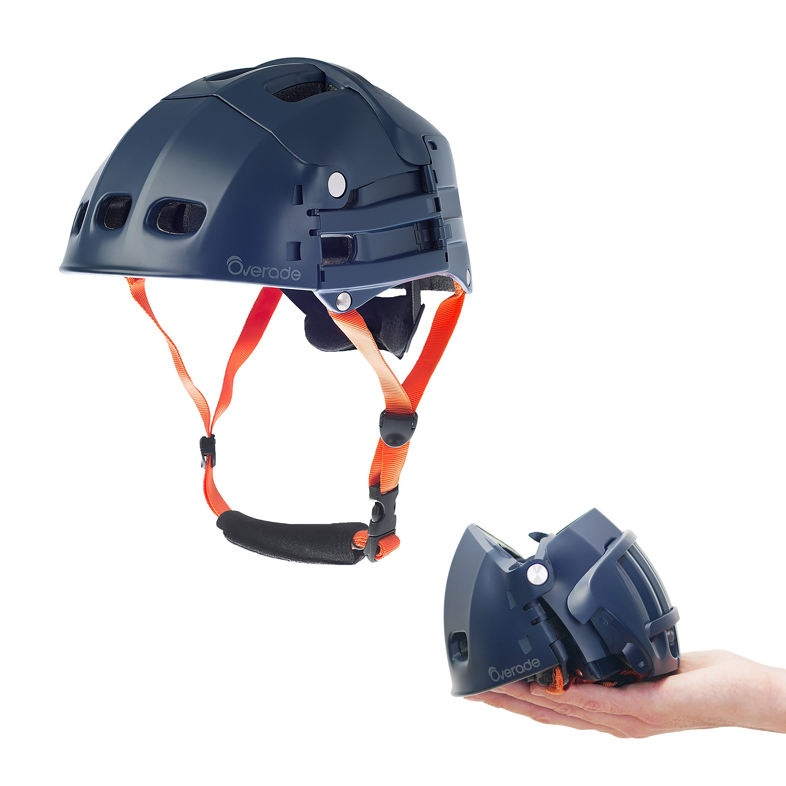 Foldable helmet Plixi Fit - for bike, kick scooter, skateboard, overboard, e-bike - CPSC standard, same protection as classic helmet - Volume divided by 3 when folded (Blue, L/XL) by Overade
