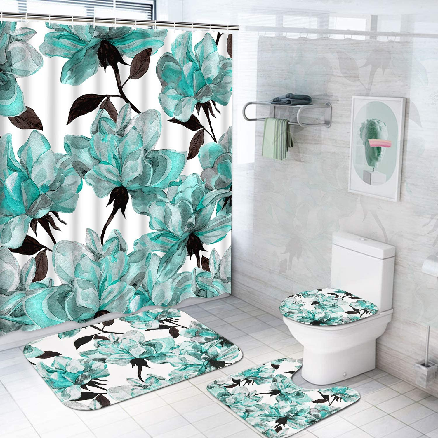 Amazon Com Tamoc 4 Pcs Watercolor Flower Shower Curtain Set With Non Slip Rug Toilet Lid Cover And Bath Mat Blue Rose Shower Curtain With 12 Hooks Waterproof Colorful Floral Bathroom Shower Curtain Furniture