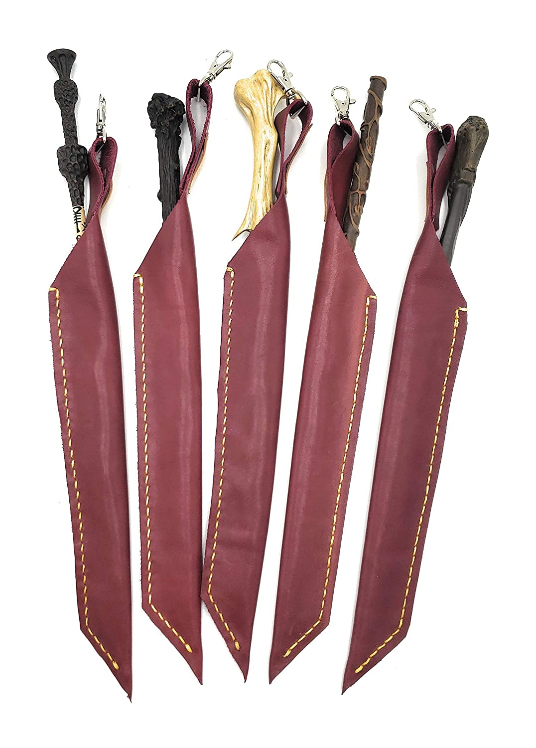 15 Inch Designer Burgundy rot Leather Wand Holster mit Yellow Gold Stitching