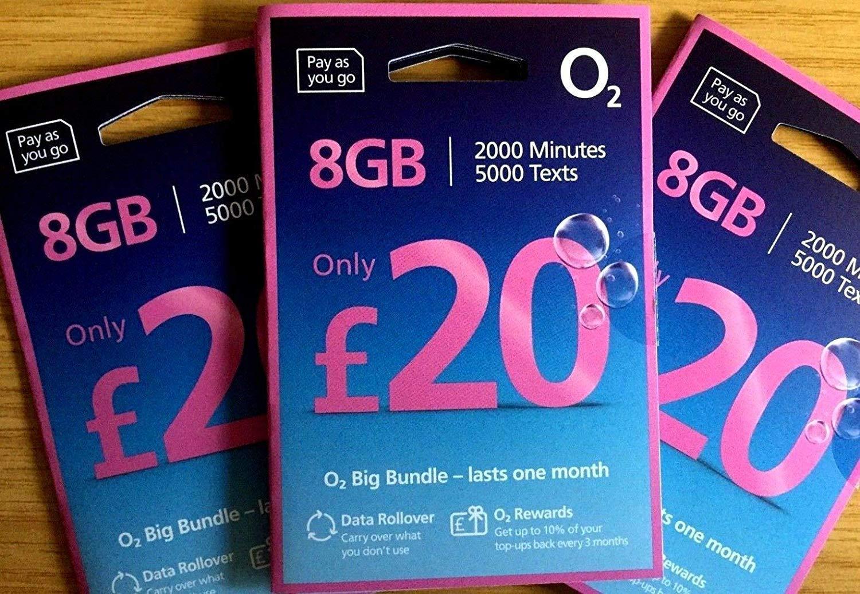 Tarjeta SIM de O2 Pay as you go (PAYG) £20 datos hambre Tarifa ...