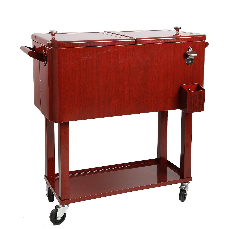 Hio 80 Qt enfriador de al aire libre Patio mesa sobre ruedas, Rolling Cooler con estante, de madera estilo, Rojo: Amazon.es: Jardín