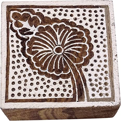 Stamp Indian Wooden Brown Textile Stamps Wood Printing Block Decorative Block