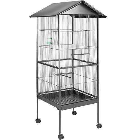 TecTake 800449 - Jaula para Pájaros, Pajarera XXL con Ruedas, Aves Canarios Periquitos -