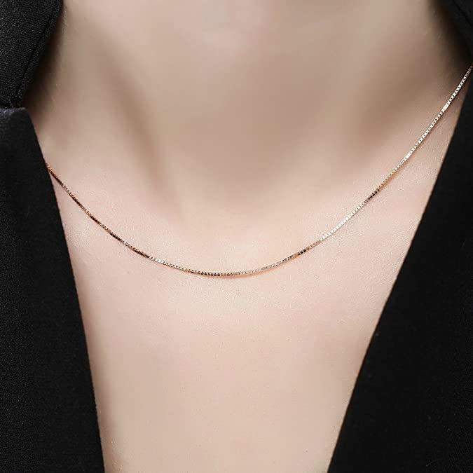 18ct 750 Rose Gold Classic Box Chain Necklace With Spring Ring Clasp (1mm) 40-45cm, 16-18 Inch