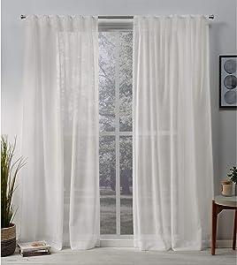 Exclusive Home Curtains Belgian Textured Linen Look Jacquard Sheer Hidden Tab Top Curtain Panel Pair, 50x108, Snowflake
