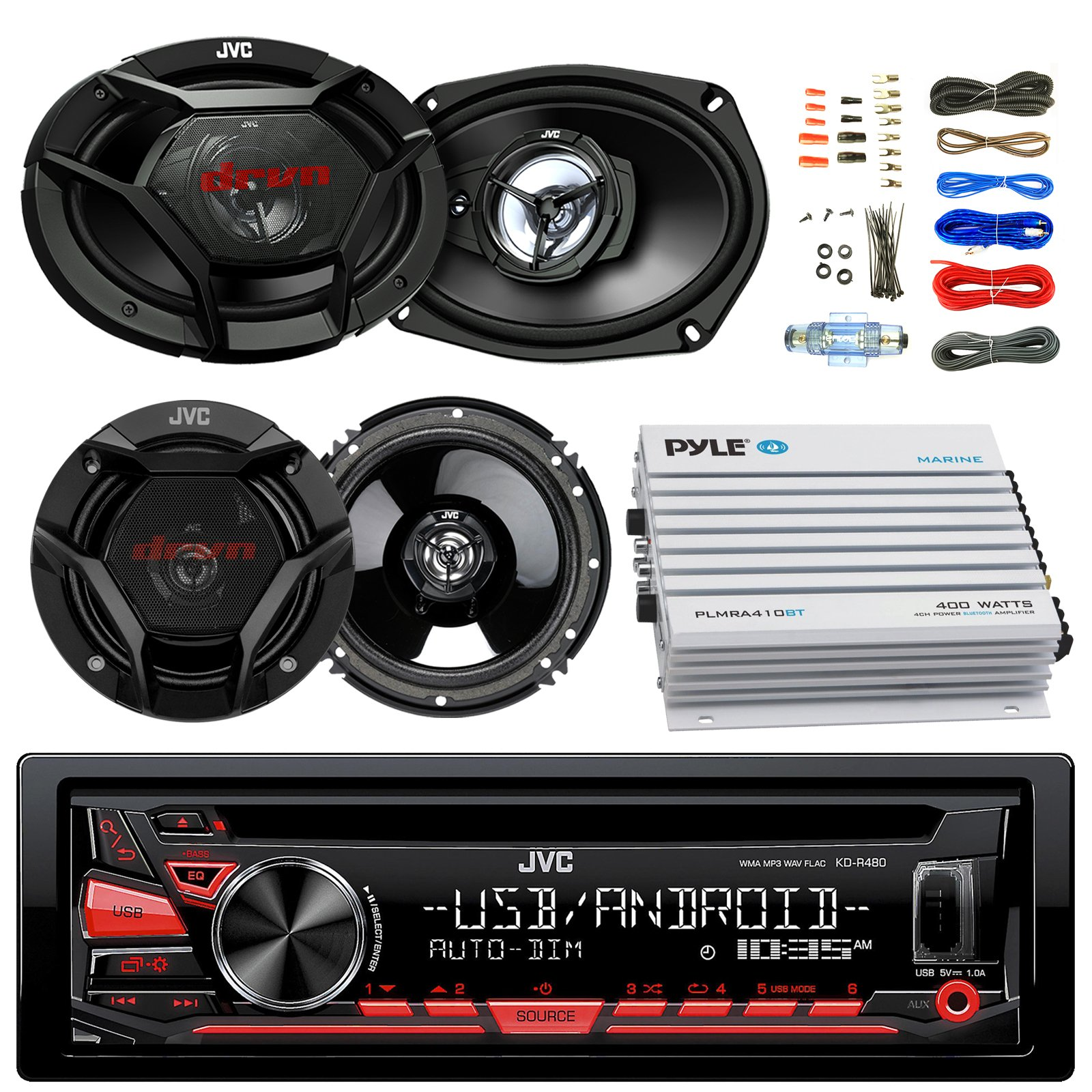 JVC KDR480 Car Radio USB AUX CD Player Receiver - Bundle Combo With 2x JVC 6x9'' 3-Way Vehicle Coaxial Speakers + 2x 6.5'' Inch 2-Way Audio Speakers + 4-Channel Amplifier + Amp Kit