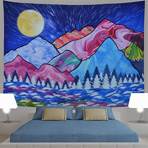 Blue Cartoon Tapestry Colorful Mountain Tapestry Moon Tapestry Forest Wave Tapestry Psychedelic Trippy Nature Landscape Tapestry Wall Hanging for Kids Living Room