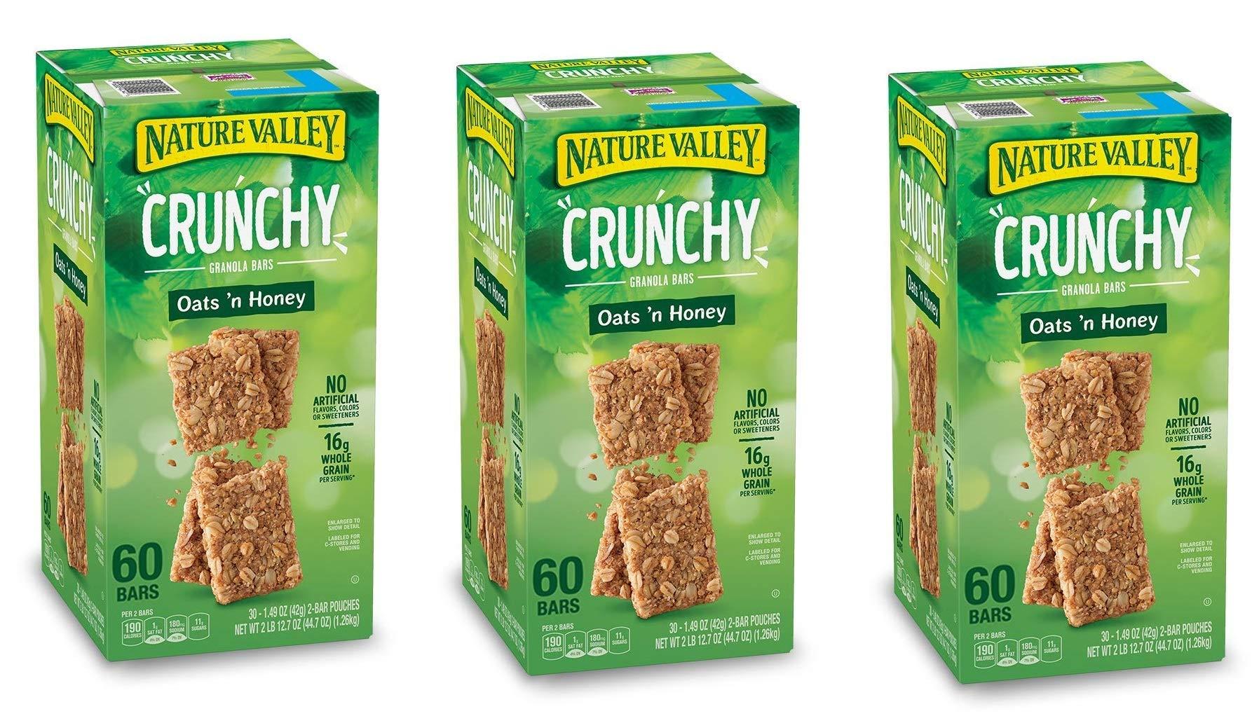 Natures Valley granola bars, Crunchy Oats N Honey, 60 Bars (3 Boxes)