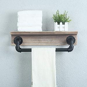 Weven Industrial Pipe Towel Racks with Towel Bar,Bathroom Shelves Wall Mounted,Rustic Home Decor Wall Shelf,Floating Shelves