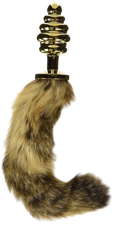 EasyToys Fetish Collection - Tapón anal acanalado dorado - 8 cm - Con cola de zorra marrón de 32 cm - Adecuado para un emocionante juego de roles - Plug ...
