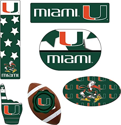 Miami Hurricanes 6 Piece Tailgate Magnet Set and Mascot Magnet