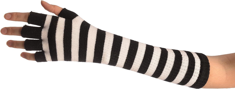 Bianco Taglia Unica 28 cm 28 cm Taglia Unica LissKiss White /& Black Stripes Fingerless Gloves