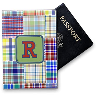 Blue Madras Plaid Print Vinyl Passport Holder (Personalized)