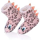 3da2e0da92e RONGBLUE Kids Boys Girls House Slippers Cute Animal Soft Warm Plush Lining  Non-Skid Floor