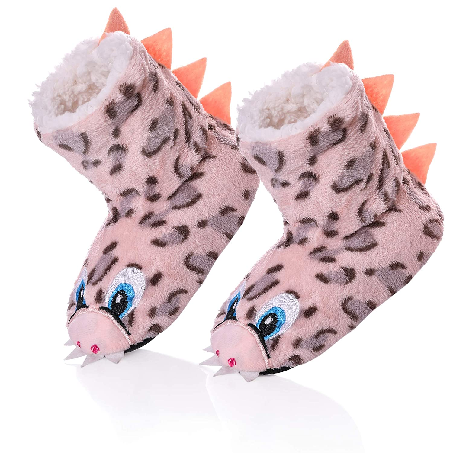 RONGBLUE Kids Boys Girls House Slippers Cute Animal Soft Warm Plush Lining Non-Skid Floor Shoes Winter Boots