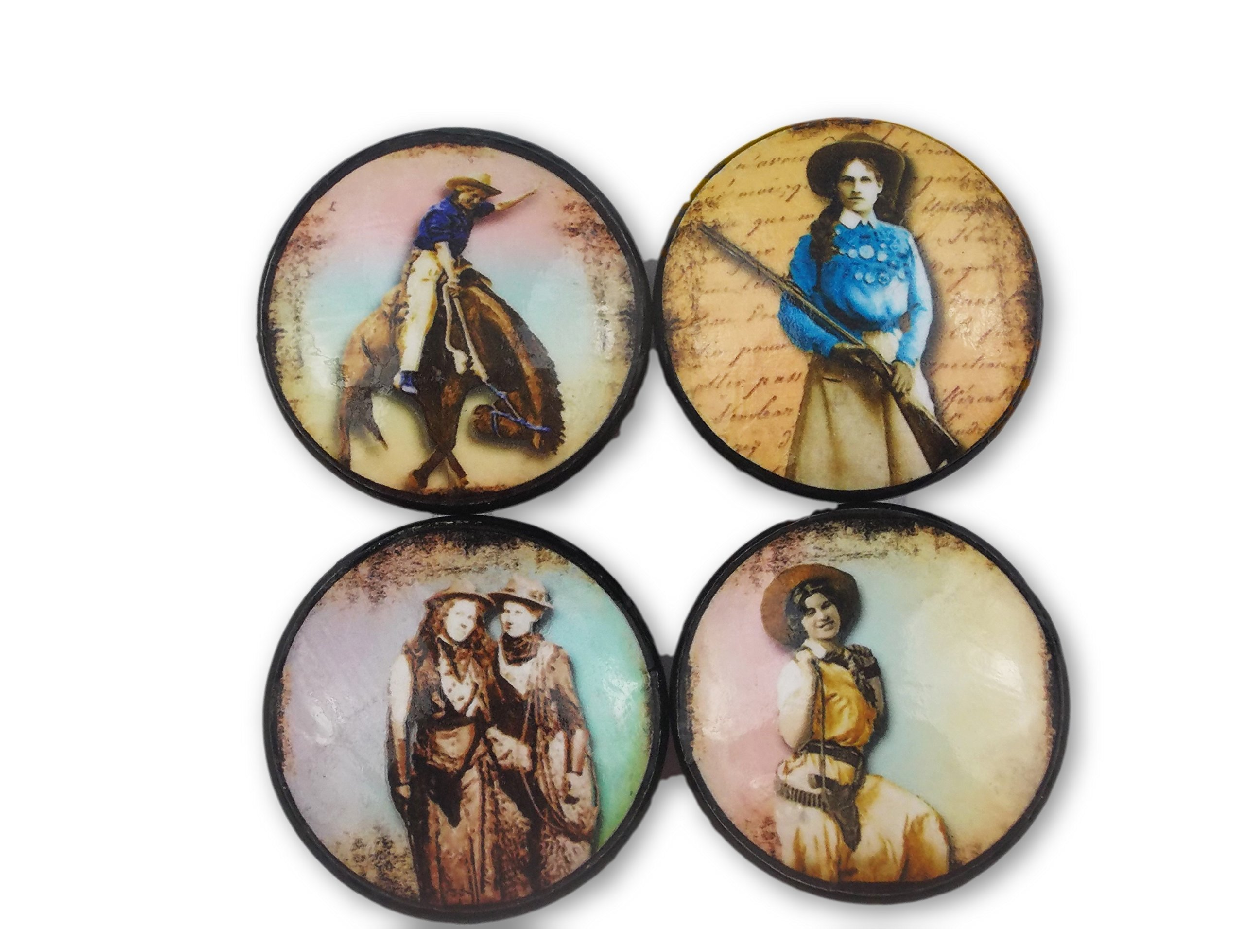 Set of 4 Women of the Old West Wood Cabinet Knobs by Twisted R Design