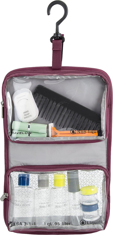 One Size Travelon Wet Dry 1 Quart Bag with Plastic Bottles Steel Blue