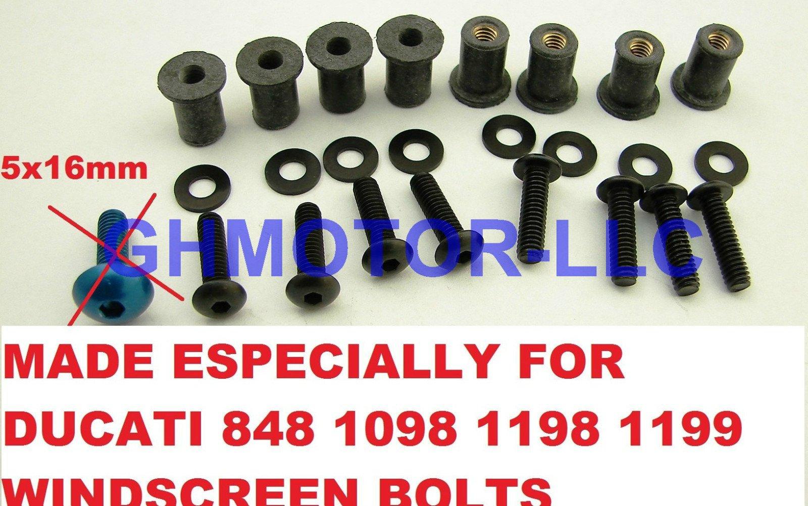 Ducati 848 1098 1198 1199 899 959 1299 SuperSport Panigale Corse V4 S R Black Windscreen Windshield Bolts Screws Kit Usa