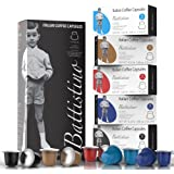 Nespresso Compatible Coffee Capsules - 100 Pack - Single Serve Pods for Original Line - 5 Flavors and Strength Variety Pack - By Battistino