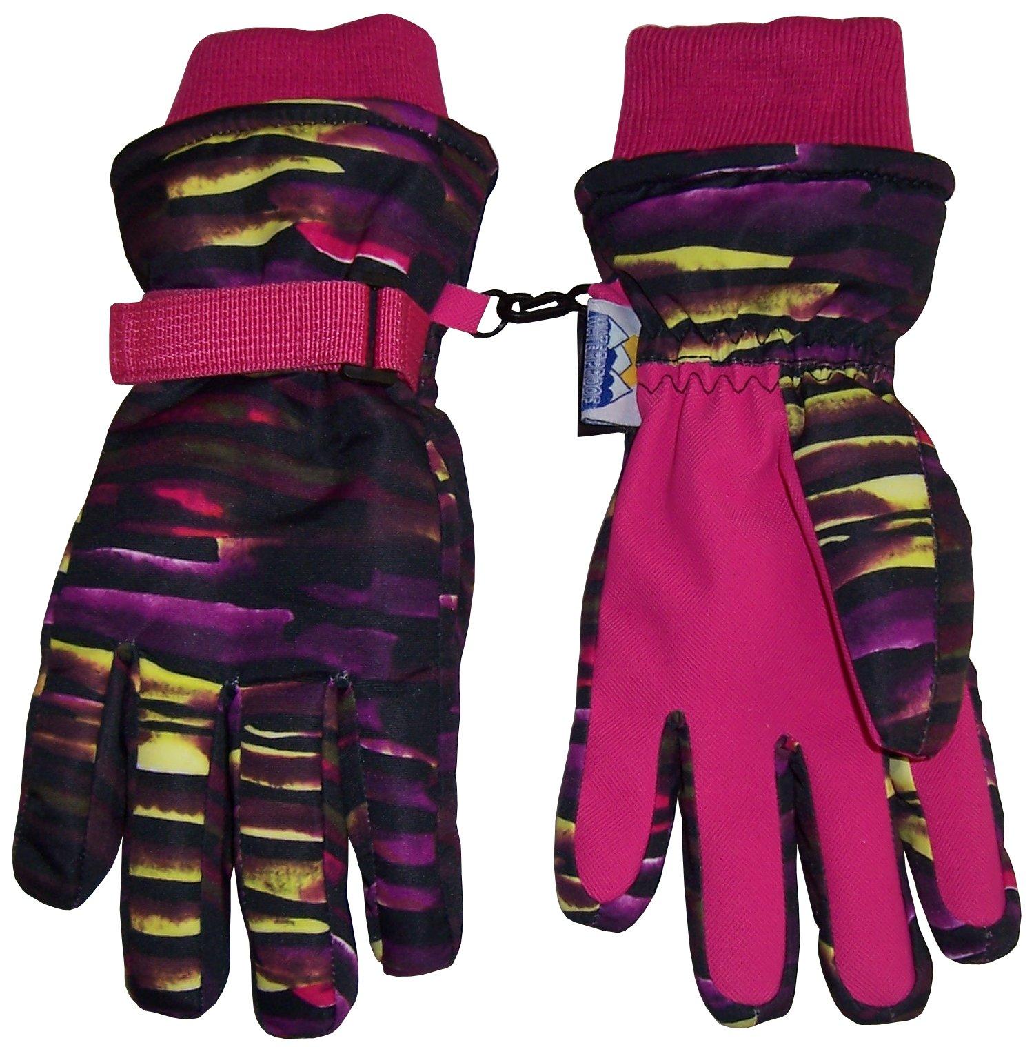 N'Ice Caps Kids Cold Weather Waterproof Camo Print Thinsulate Ski Gloves (Fuchsia Neon Stripe, 8-10 Years)