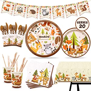 182 pcs Woodland Animal Party Tableware Supplies Set Including Banner, Plates, Cups, Table Cover and Napkins Serves 20 Guests for Woodland Forest Friends Theme Party Baby Shower Birthday Decorations
