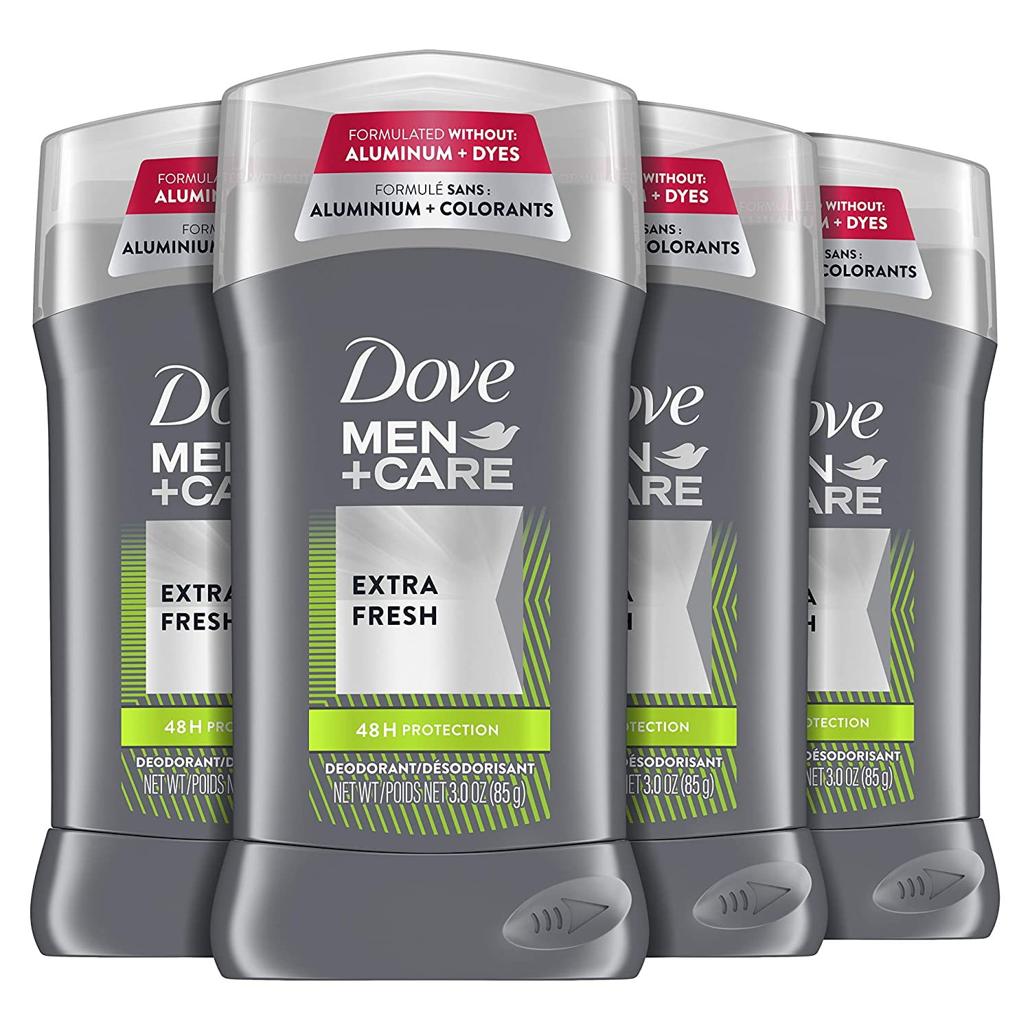 Dove Men+Care Deodorant Stick Aluminum-free formula with 48-Hour Protection Extra Fresh Deodorant for men with Vitamin E and Triple Action Moisturizer 3 oz 4 Count