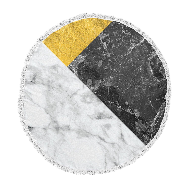 Kess InHouse Kess Original Geo Marble and Gold Digital Geometric Round Beach Towel Blanket