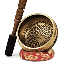 TARORO Cuenco Tibetano; Ø13cm; hecho a mano en Nepal ~ Diseño antiguo original ~ Vendido con un cojín de seda roja y un…