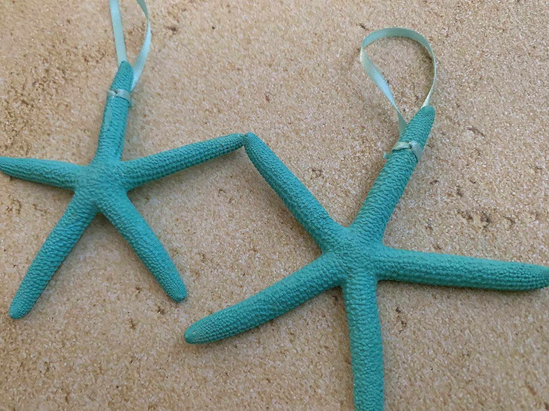 10 Bright Turquoise Starfish Christmas Tree Ornaments