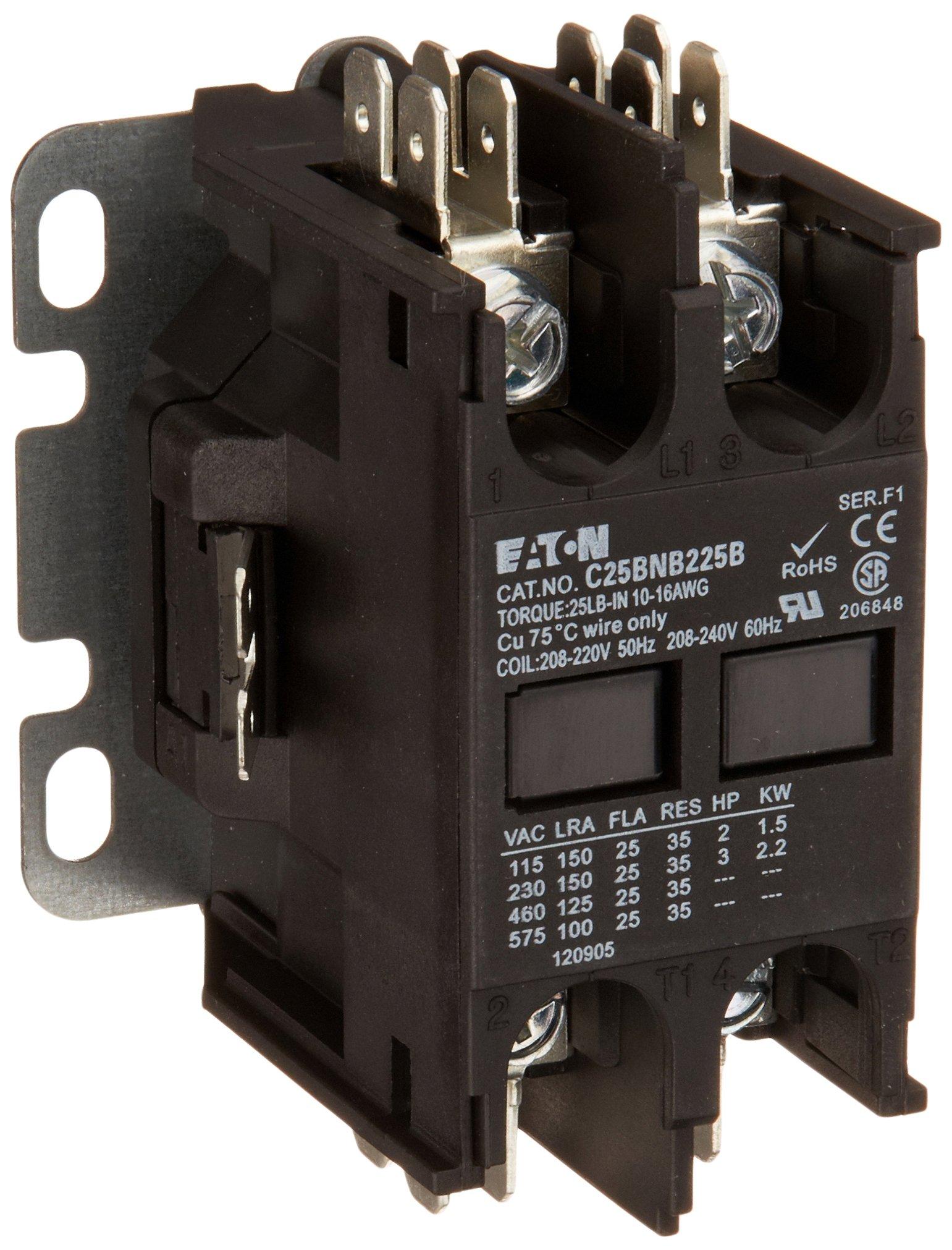 Eaton C25BNB225B Compact Definite Purpose Contactor, 25A Inductive Current Rating, 2 Max HP Rating at 115V, 3 Max HP Rating at 230V, 240VAC Coil Voltage