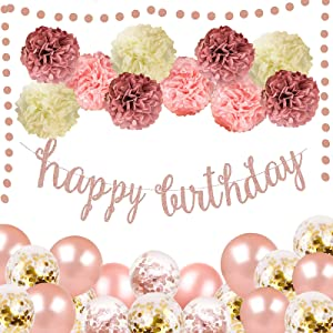 Rose Gold Pink Birthday Party Decoration -Rose Gold Balllons, Rose Gold Glittery Happy Birthday Banner, Round Sequin,Flower Pompoms For Women and Girls Birthday Party Supplies