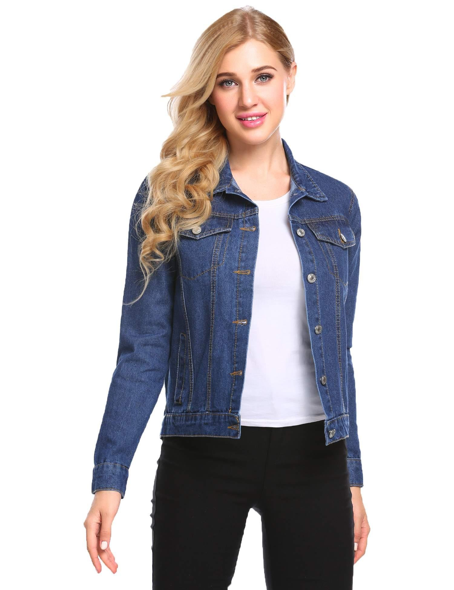 etuoji Women Denim Jacket Long Sleeve Fitted Washed Ripped Cropped Jean Top