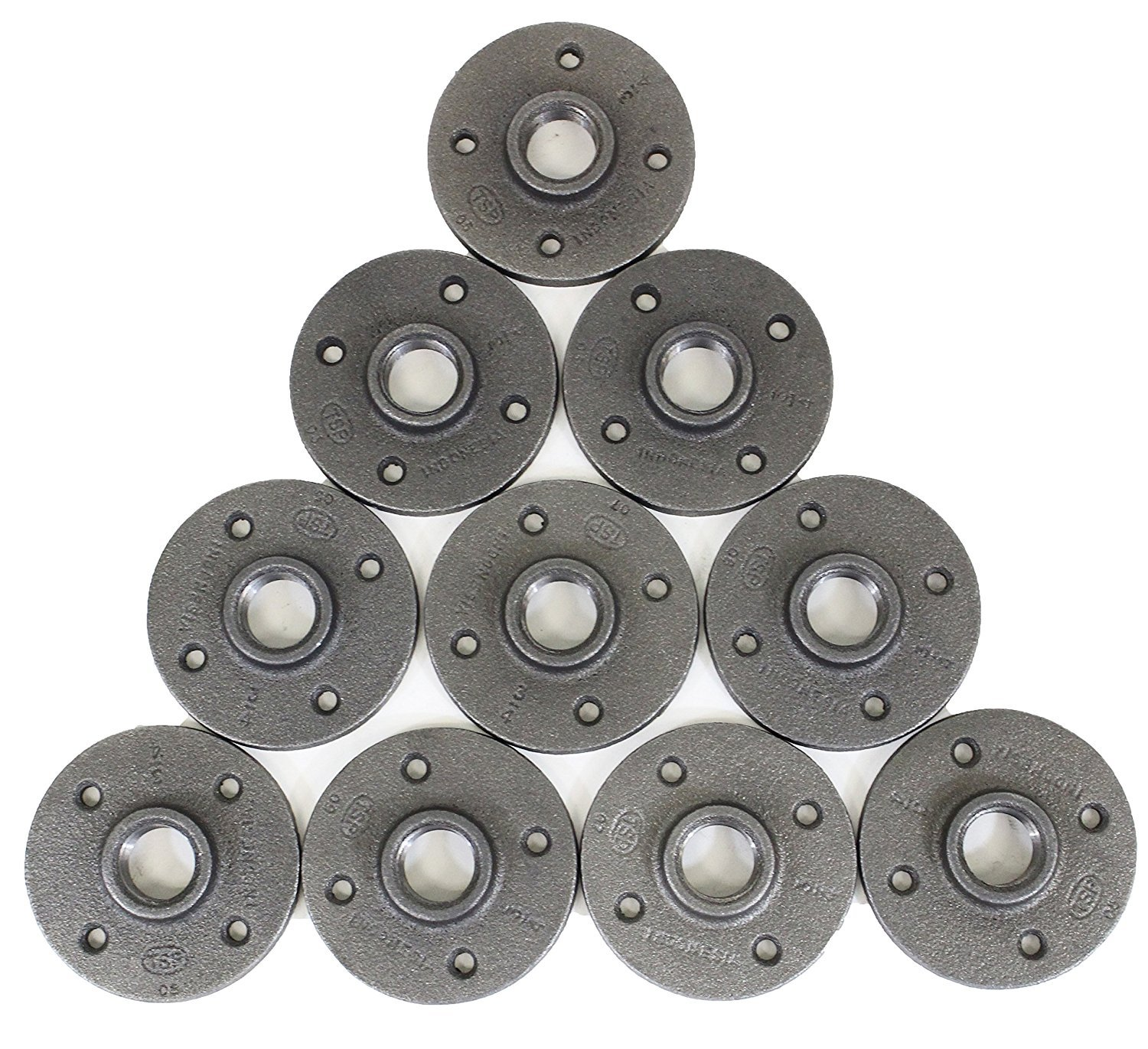 TSP Floor Flange Industrial Pipe 1/2-Inch Iron Flanges-1/2 DIY Furniture Decor 10 Pack Malleable Threaded Plumber Fitting-Perfect for Vintage Steampunk Lamps Shelving Plumbing, 1/2'', Black, Count by TSP