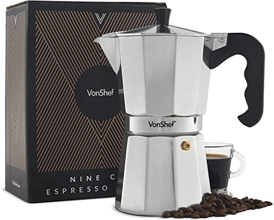 VonShef Cafetera Italiana Espresso para hornillo 9 Tazas: Amazon.es: Hogar