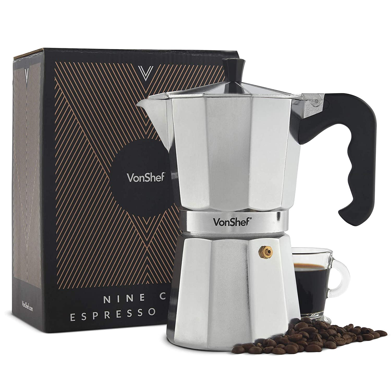 VonShef Cafetera Espresso Italiana Macchinetta Moka de 3/6/9/12 Tazas Incluye un Filtro y un Sello de Recambio (9 Tazas)